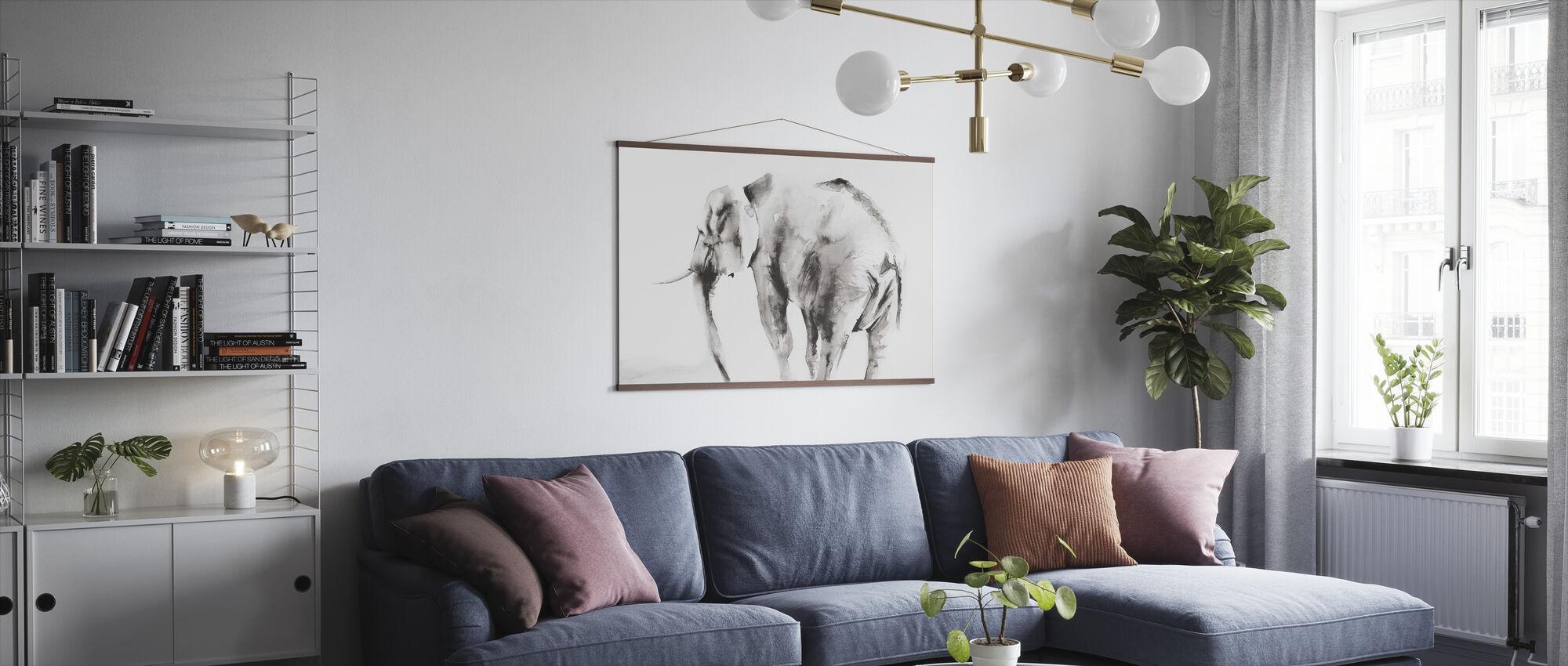 Lone elefant grå avling - Plakat - Stue