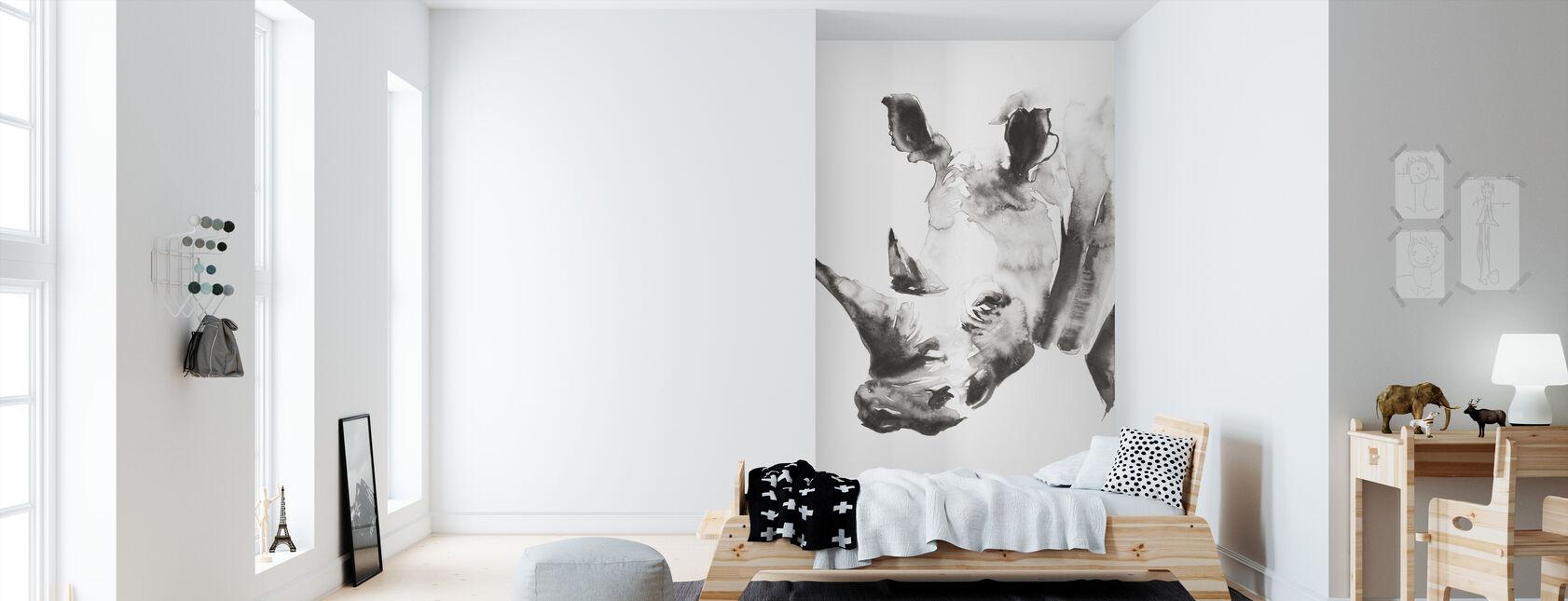 Rhino Szary Crop - Tapeta - Pokój dziecięcy