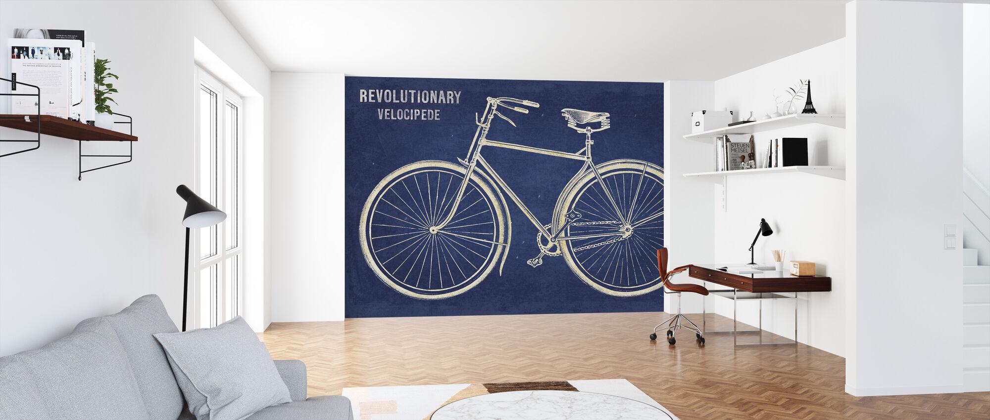 Blauwdruk fiets - Behang - Kantoor