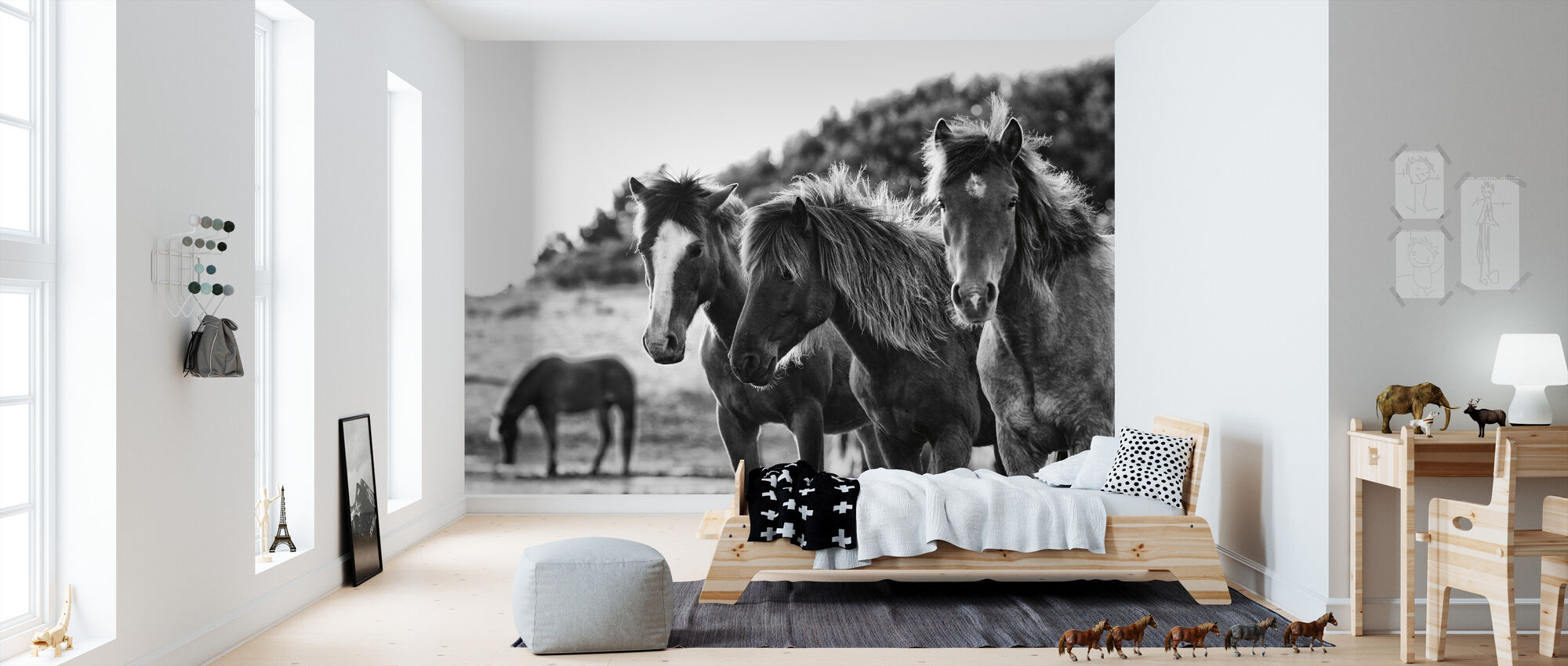 Horses Three - Wallpaper - Kids Room
