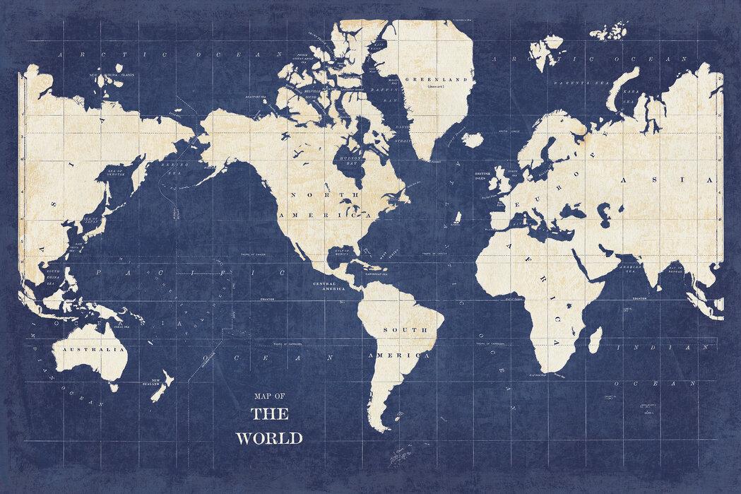 Blueprint World Map - No Border – made-to-measure wall mural ...