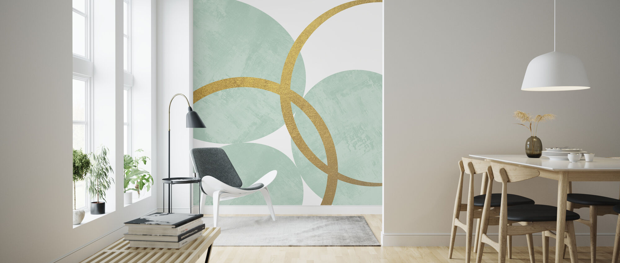 Gold Rings - Mint - Wallpaper - Living Room