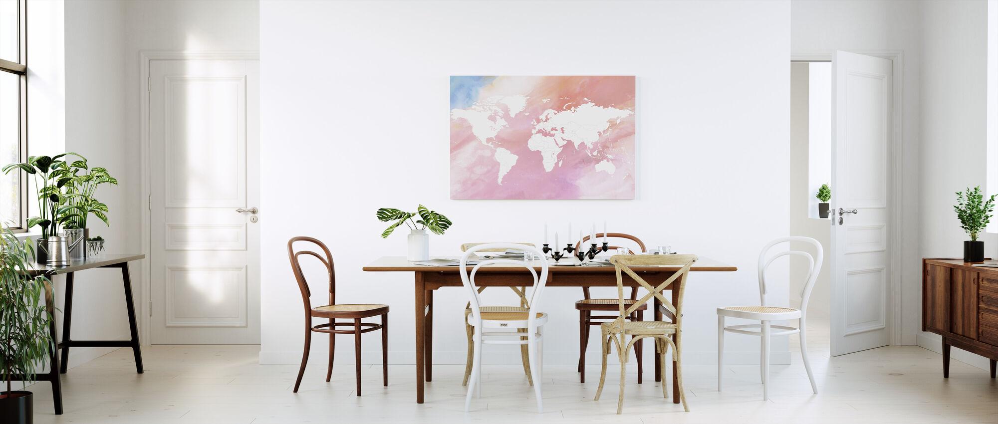 Carte du monde Pastel - Impression sur toile - Cuisine
