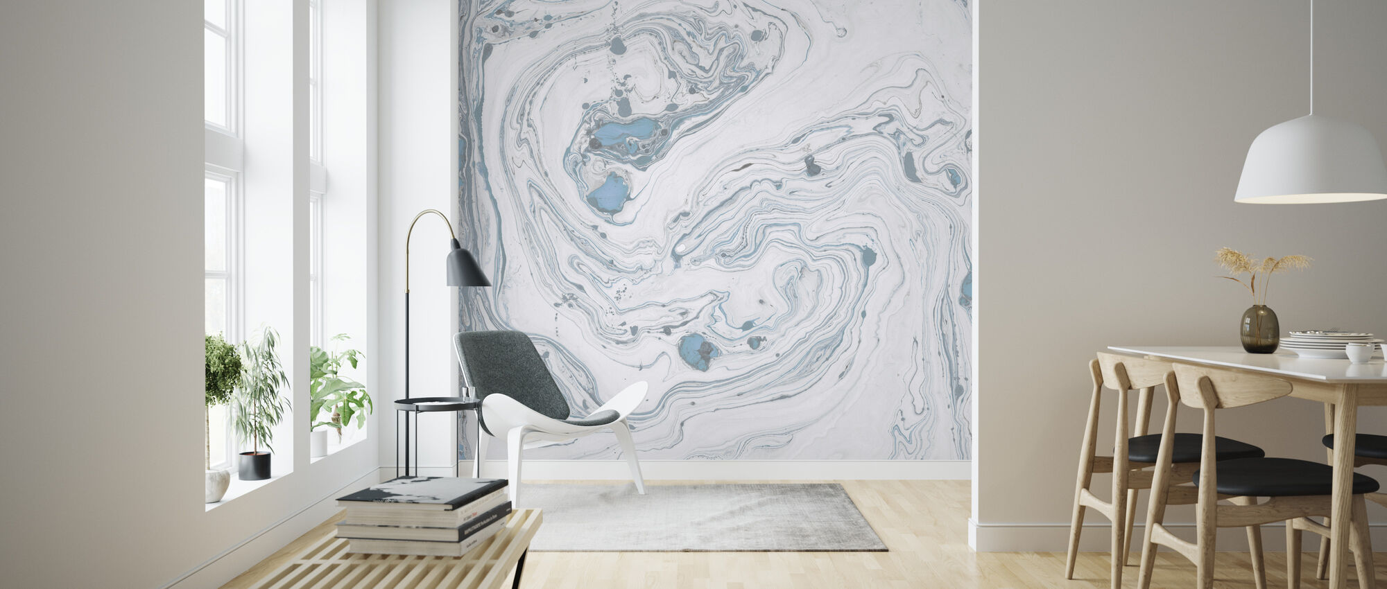 Carrara marmor blå - Tapet - Stue