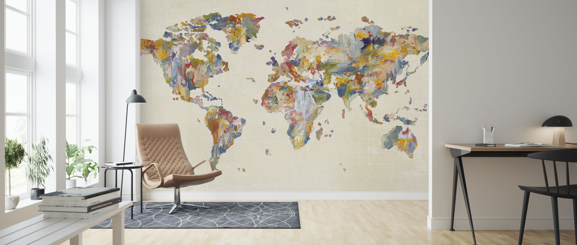 Global Palettes Map on Vintage Linen - Wallpaper - Living Room