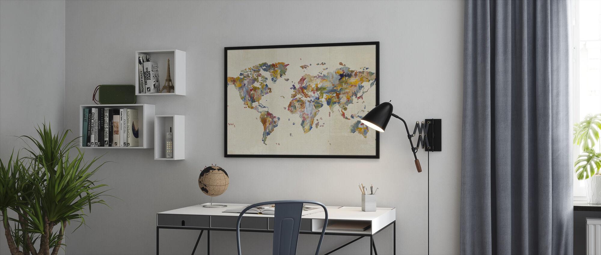 Global Palettes Map on Vintage Linen - Framed print - Office