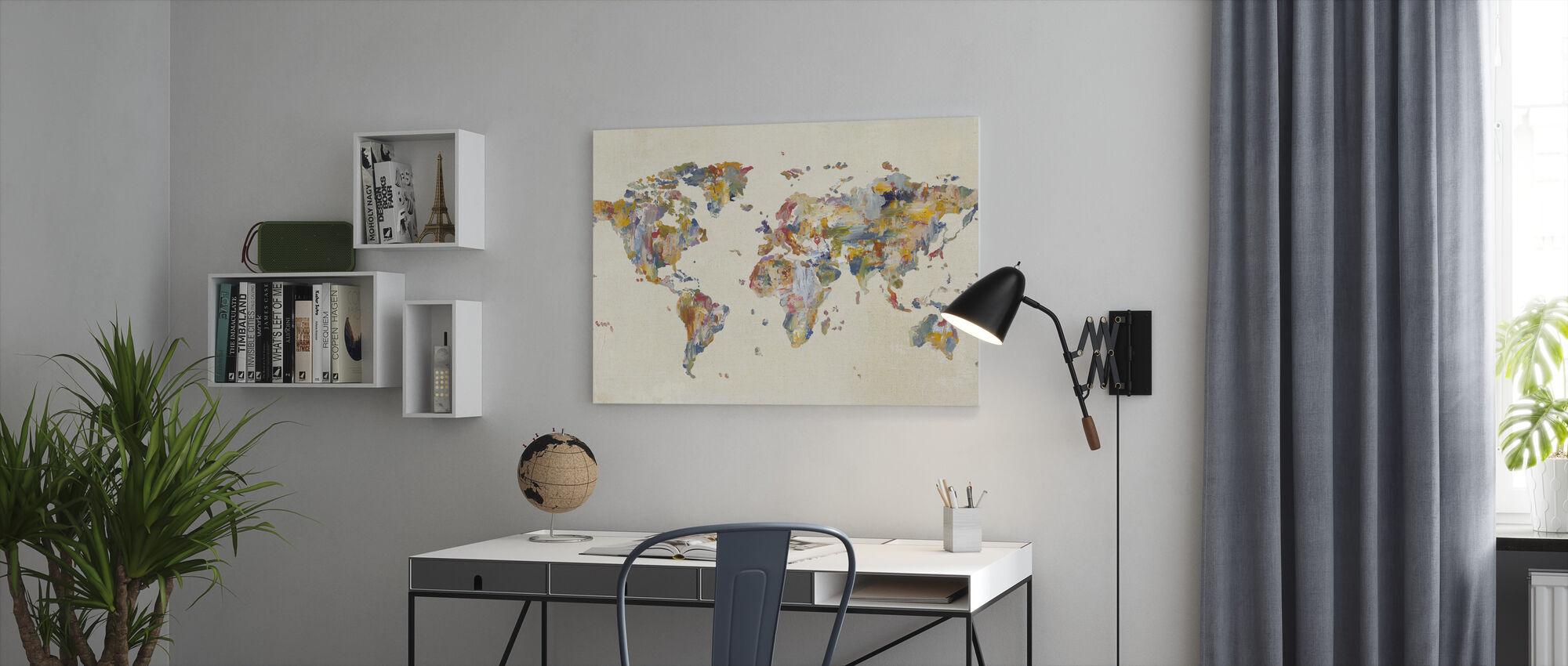 Global Palettes Map on Vintage Linen - Canvas print - Office