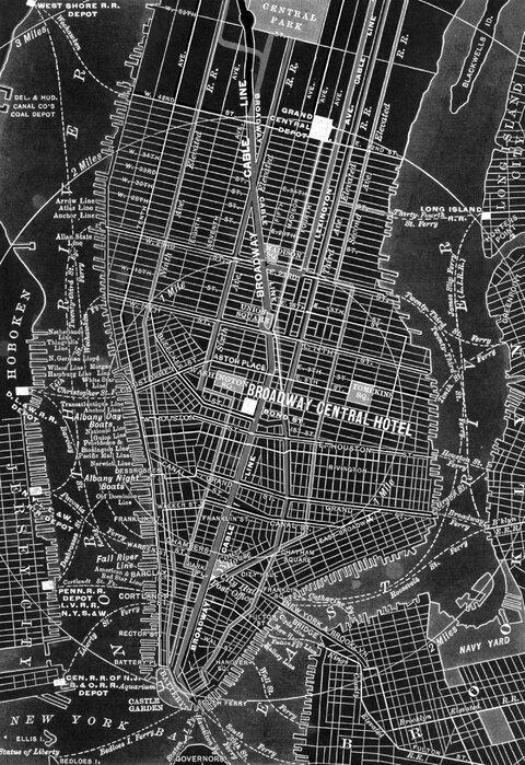 Broadway Central Nyc Map Idyllic Canvas Print Photowall
