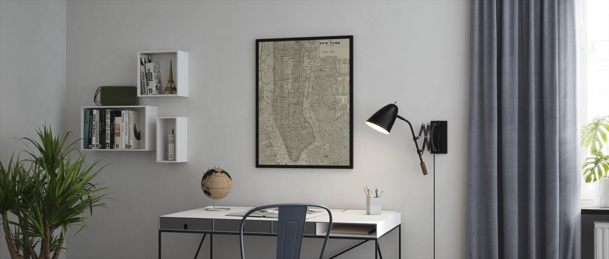 Newsprint NYC Map - Framed print - Office