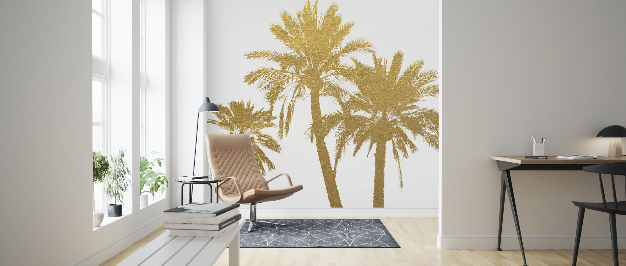 GLAM - Palm Trees on white - Wallpaper - Living Room