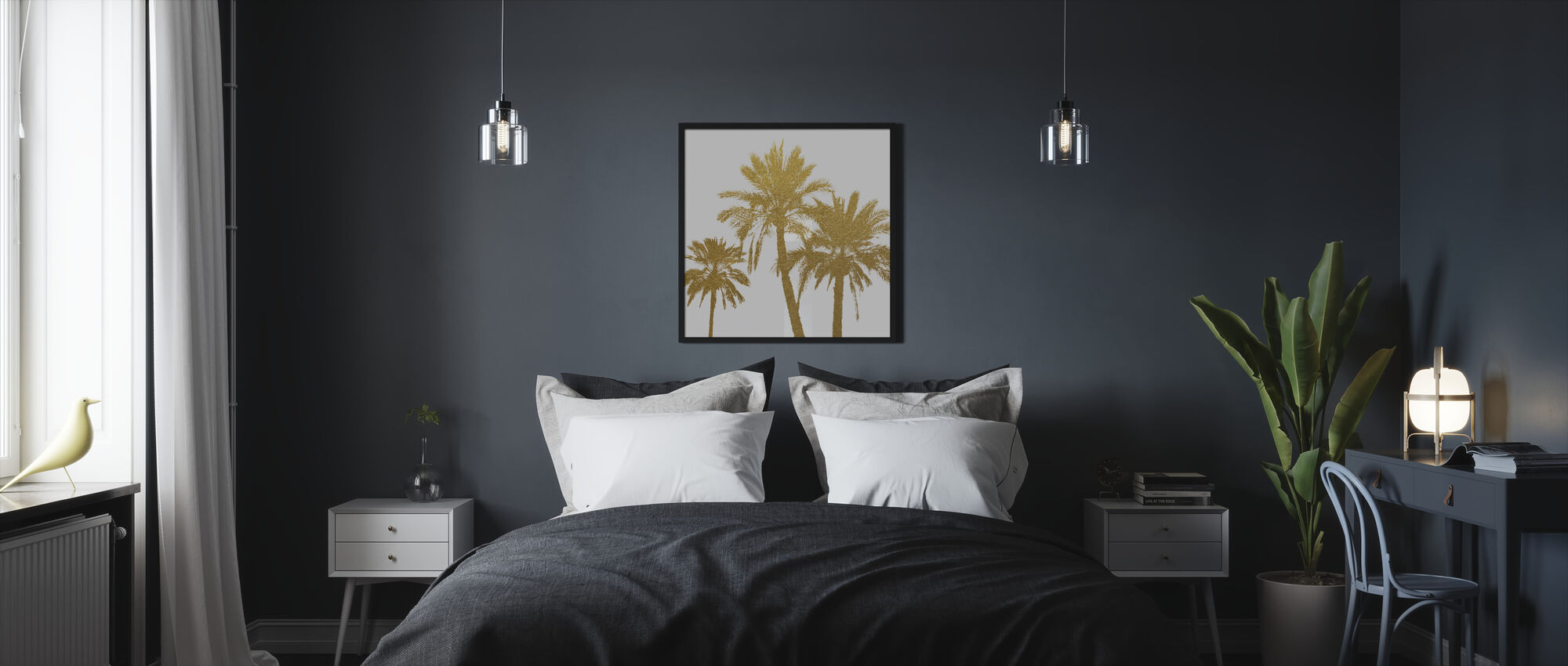 GLAM - Palm Trees on white - Framed print - Bedroom