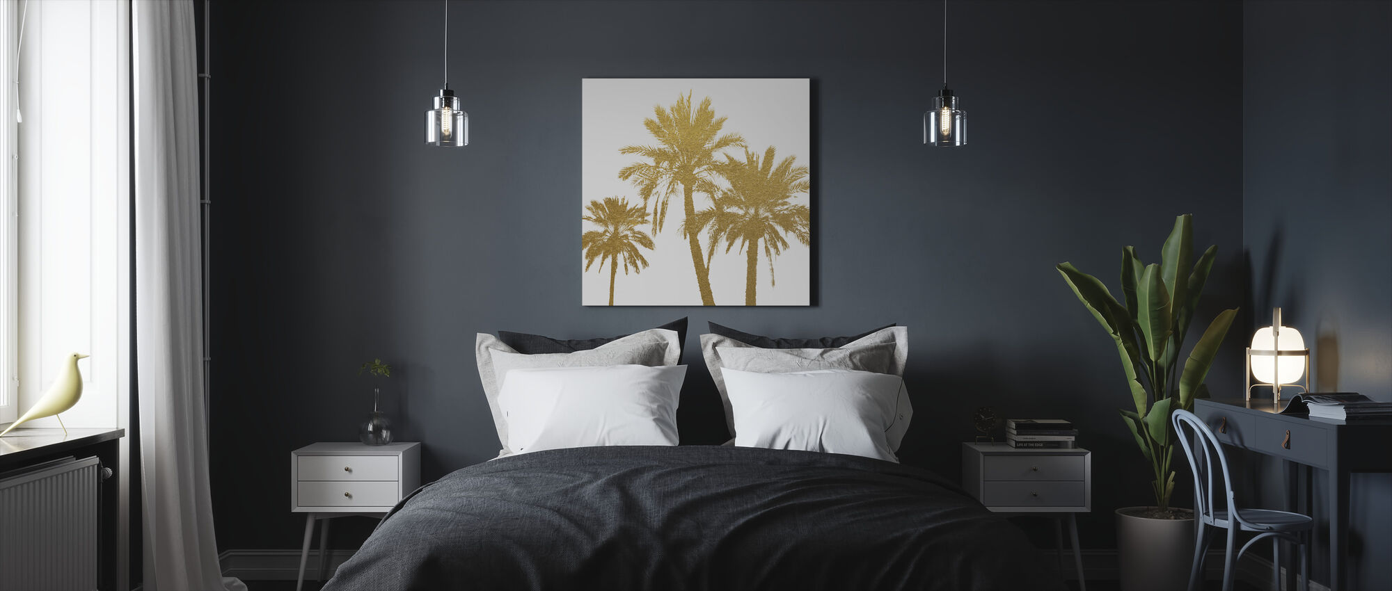 GLAM - Palm Trees on white - Canvas print - Bedroom