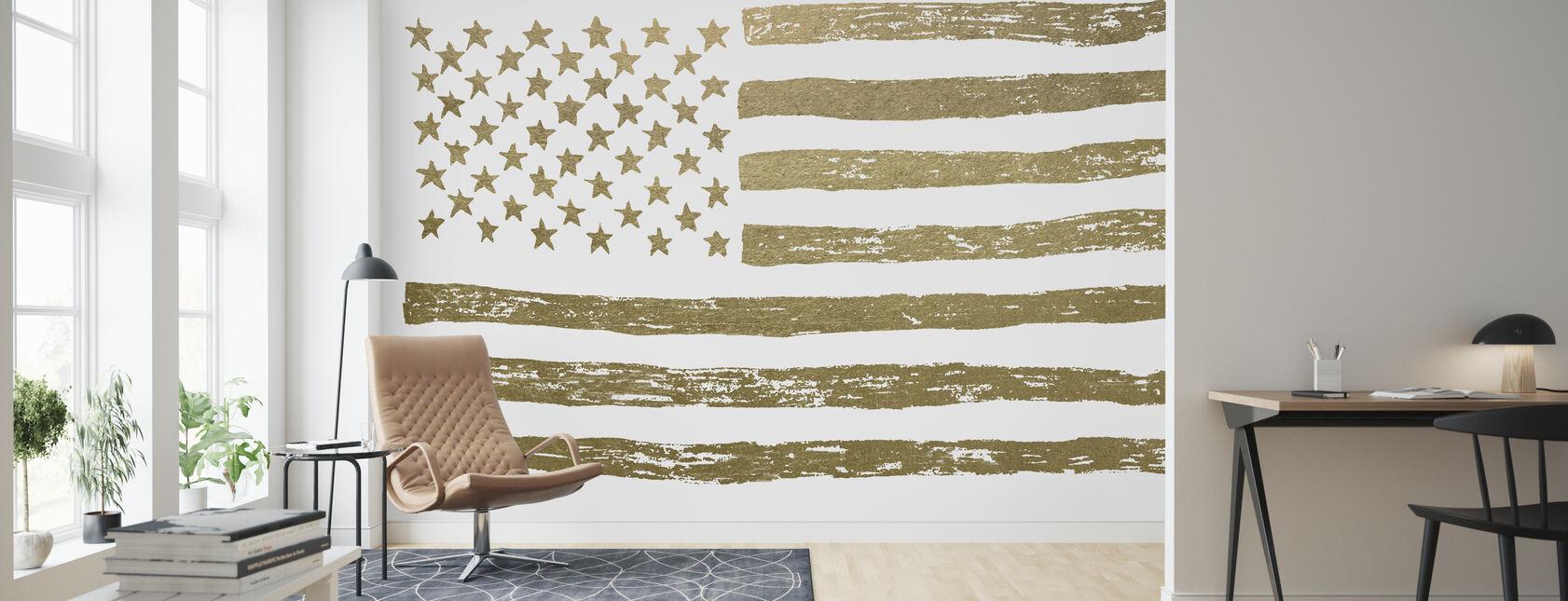 Guld amerikanska flaggan - Tapet - Vardagsrum
