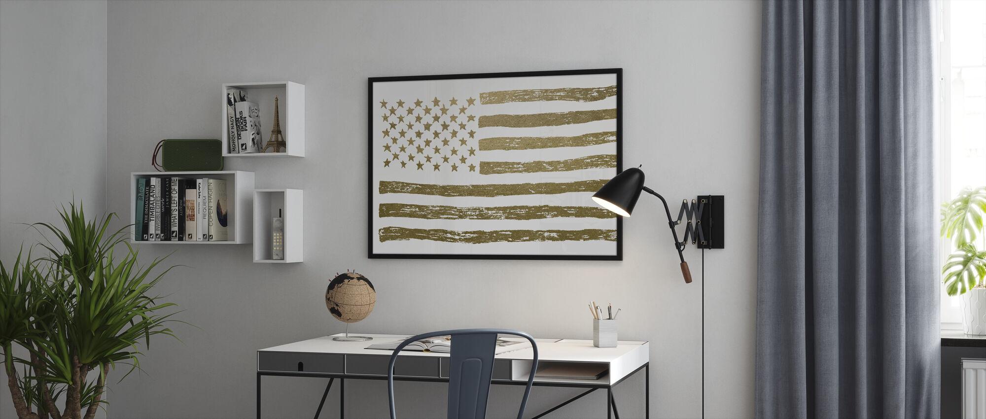 Gold U.S. Flag - Framed print - Office