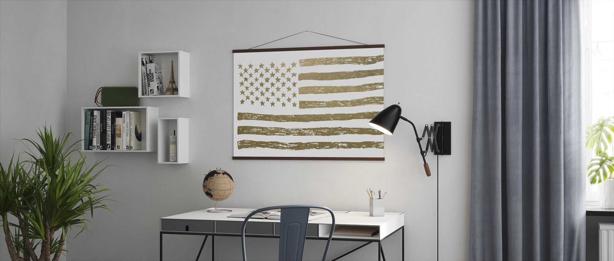 Gold U.S. Flag - Poster - Office
