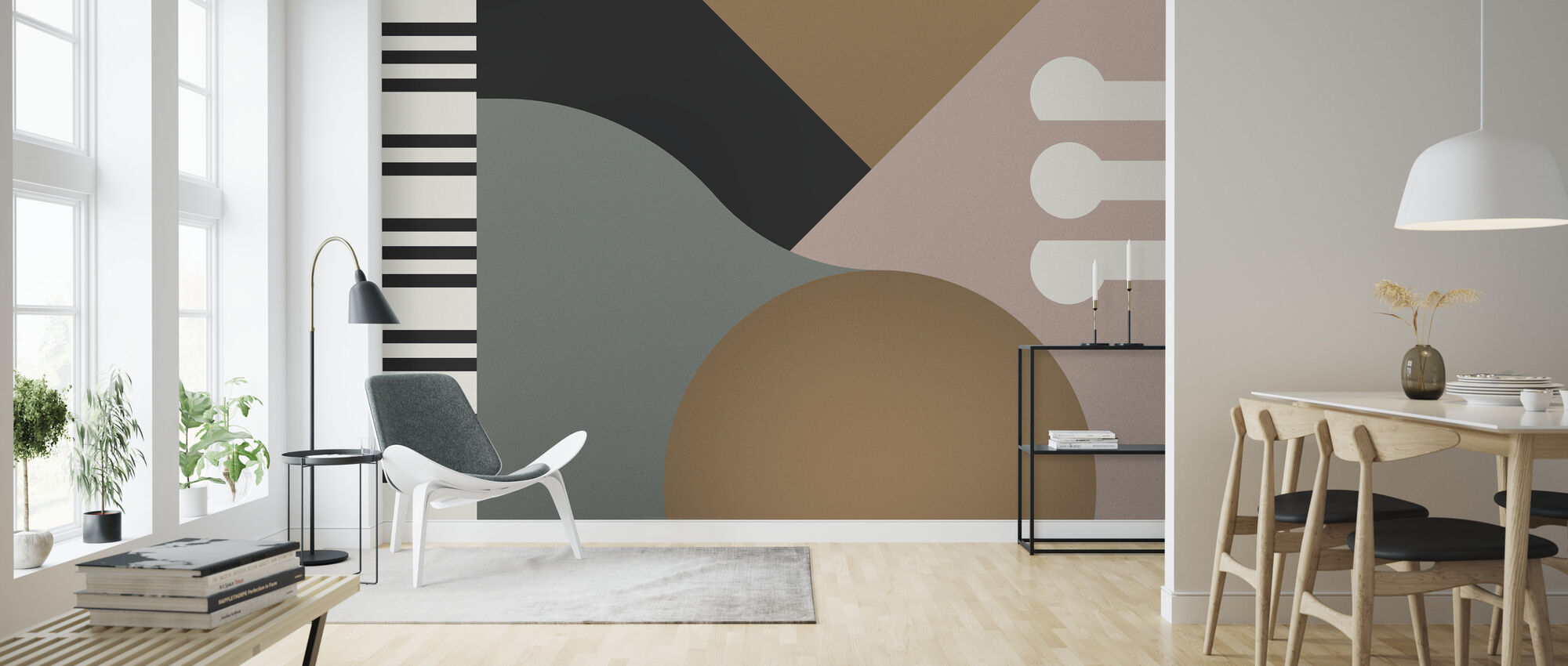 Geometric Contemporary Piano - Wallpaper - Living Room