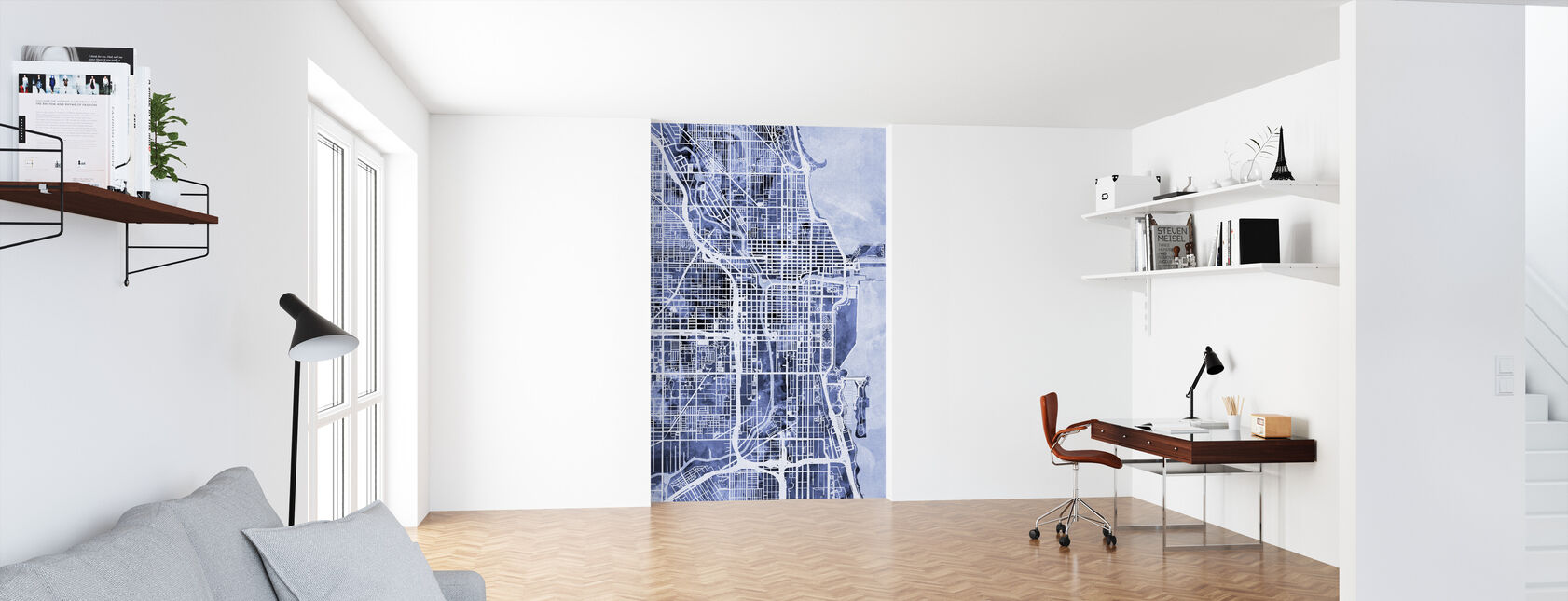 Chicago City Street Map - Wallpaper - Office