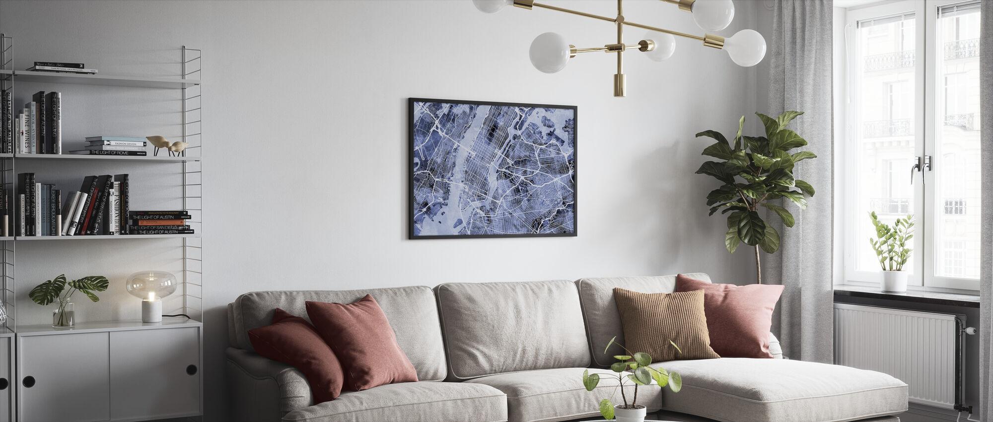 New York City Street Karta - Inramad tavla - Vardagsrum