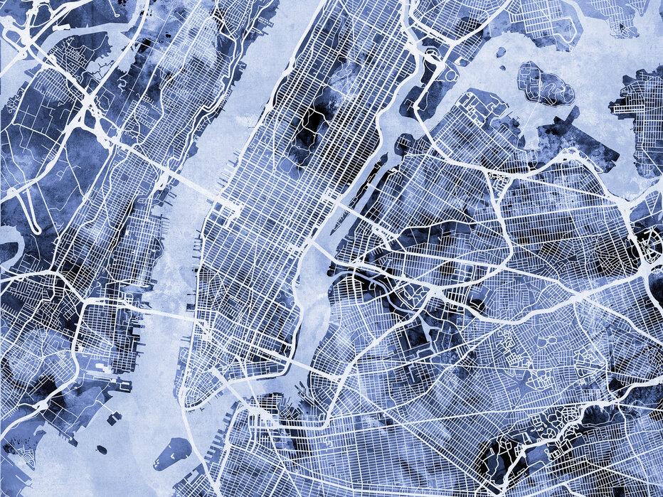 New York City Street Map Leinwandbilder Fur Jedes Ambiente Photowall
