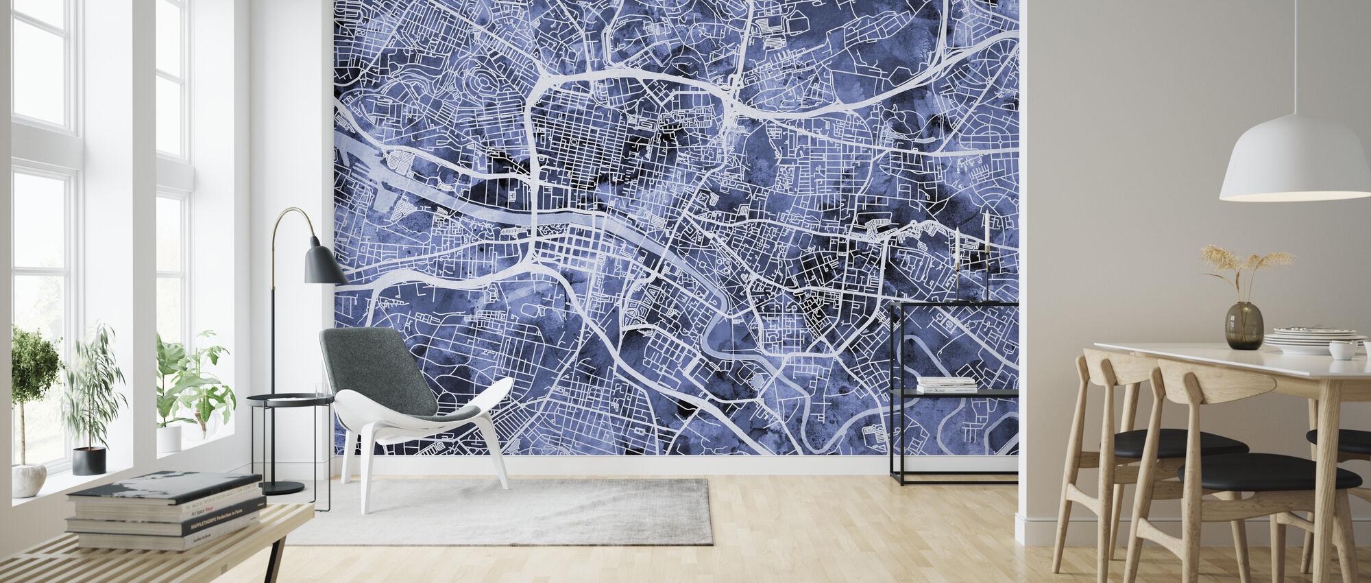 Glasgow Street Map - Wallpaper - Living Room