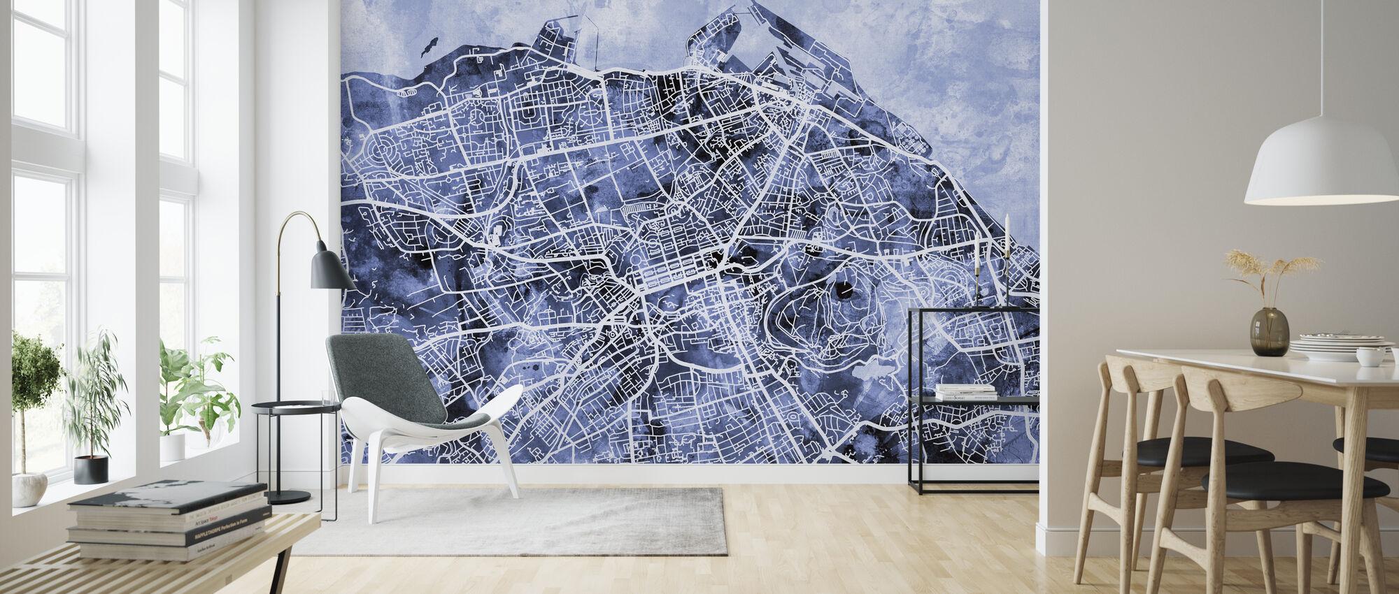 Edinburgh Street Map - Wallpaper - Living Room