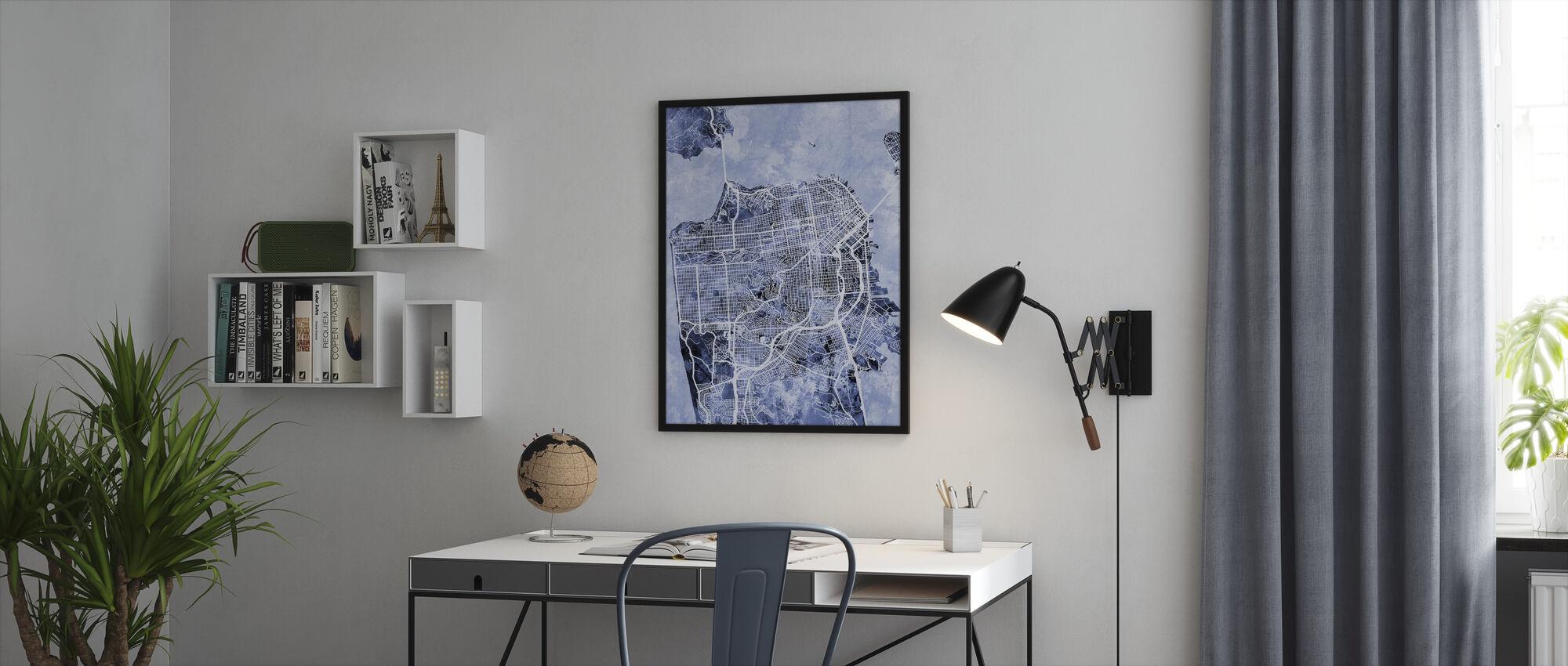 San Francisco City Street Map - Framed print - Office