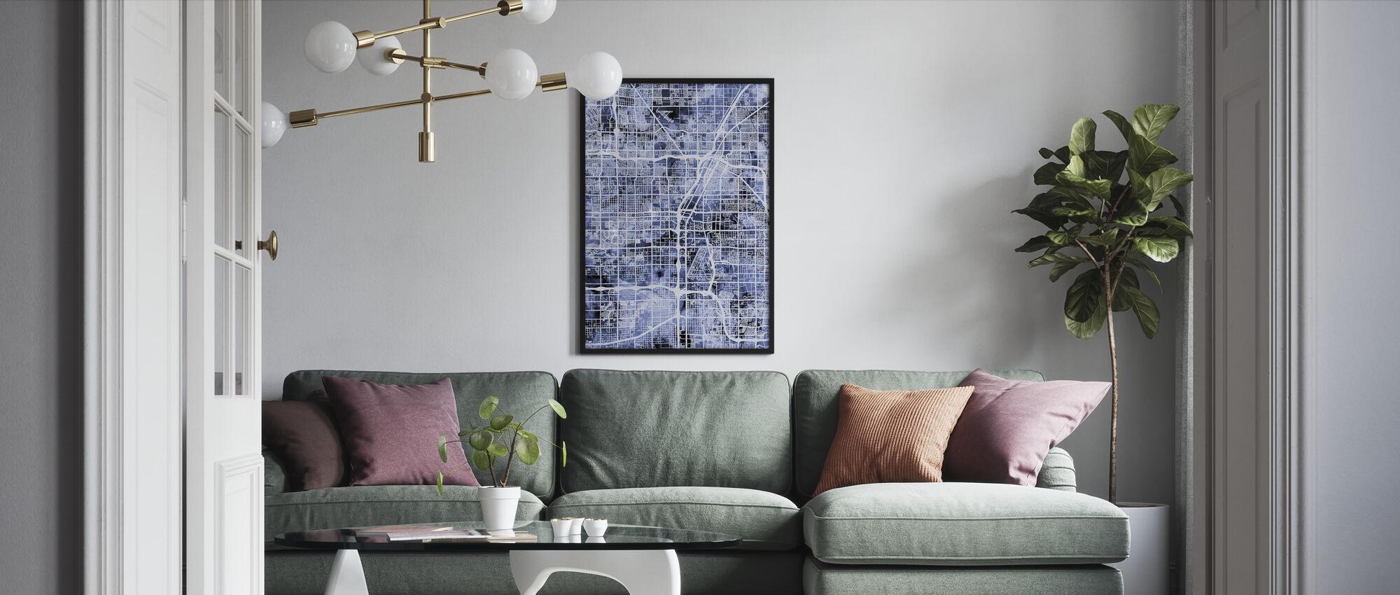 Las Vegas City Street Map - Framed print - Living Room