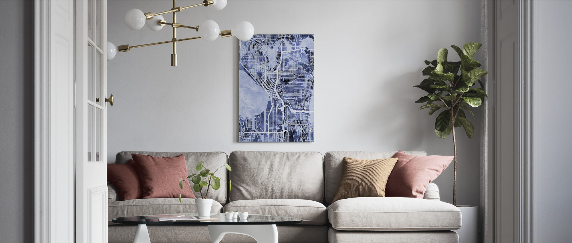 Seattle Washington Street Kaart - Canvas print - Woonkamer