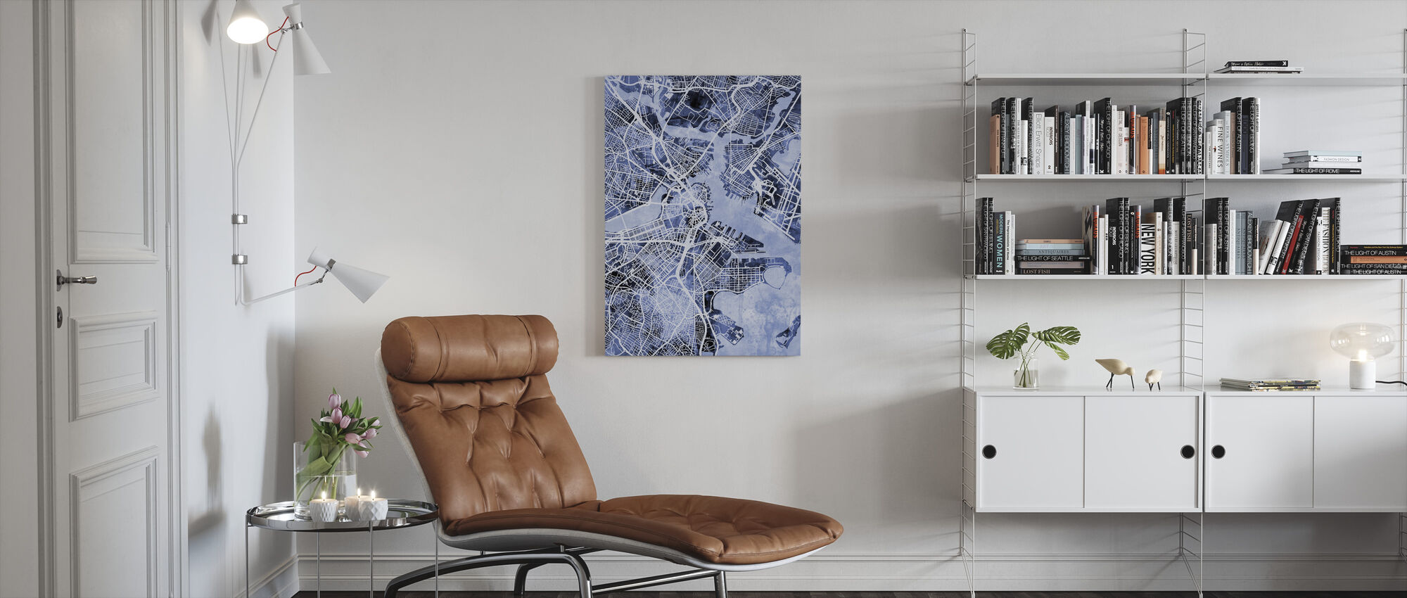 Boston Massachusetts Street Map - Canvas print - Living Room