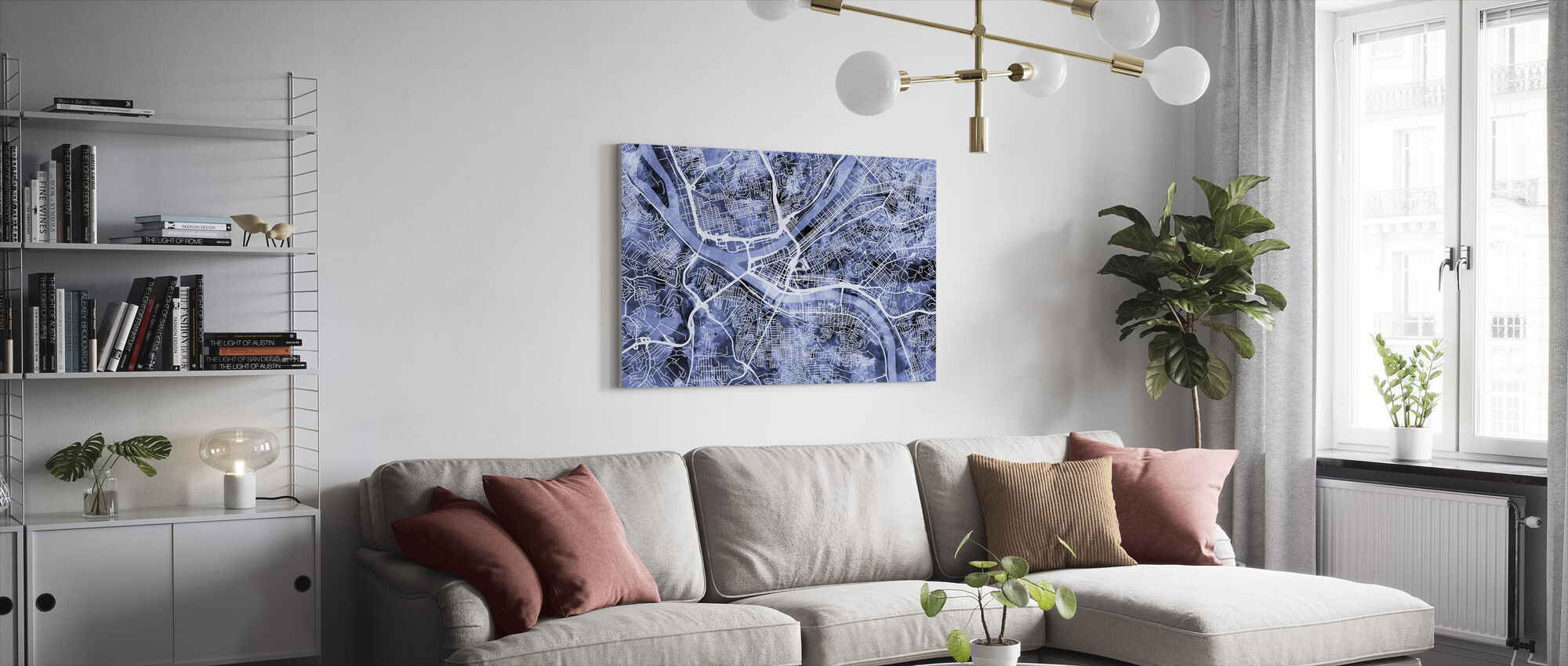 Pittsburgh Pennsylvania Street Map - Canvas print - Living Room
