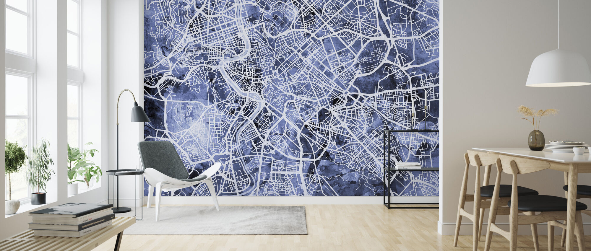 Rome Italy City Street Map - Wallpaper - Living Room