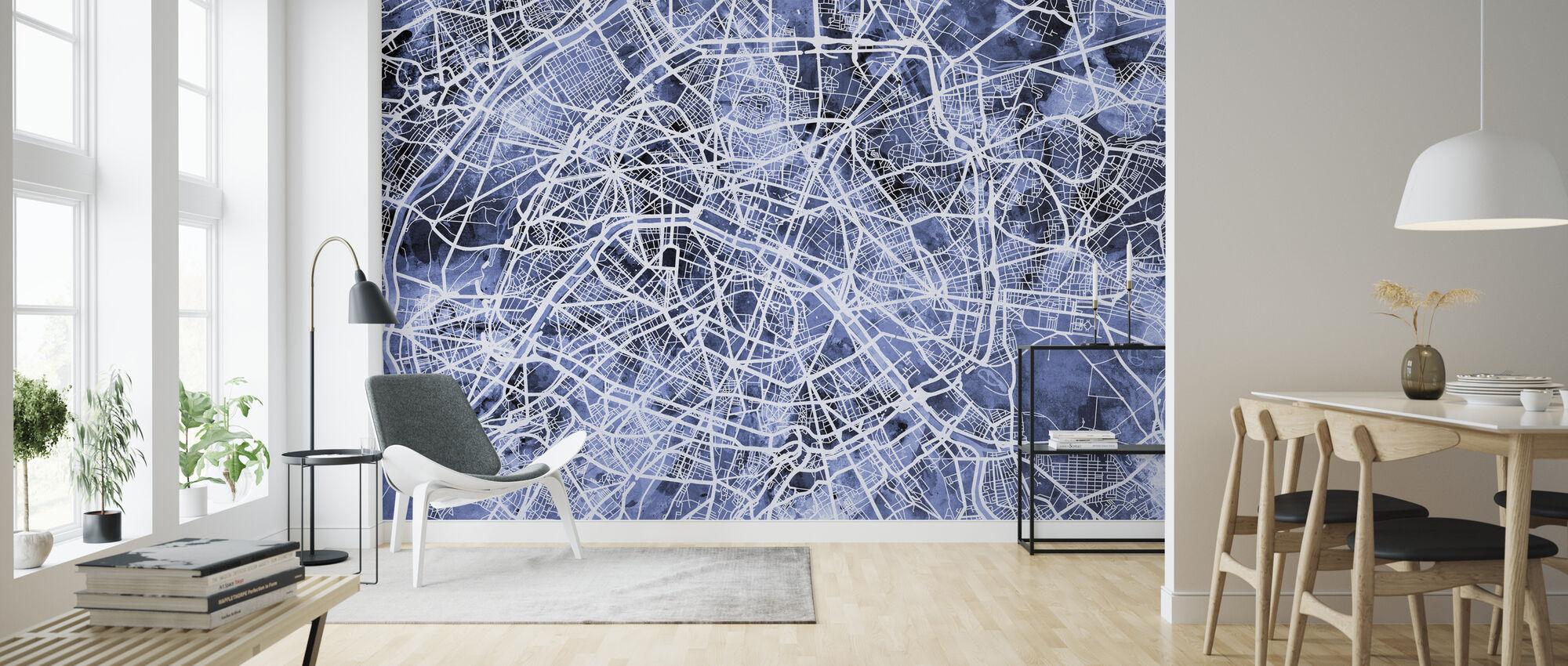 Paris France City Street Map - Wallpaper - Living Room