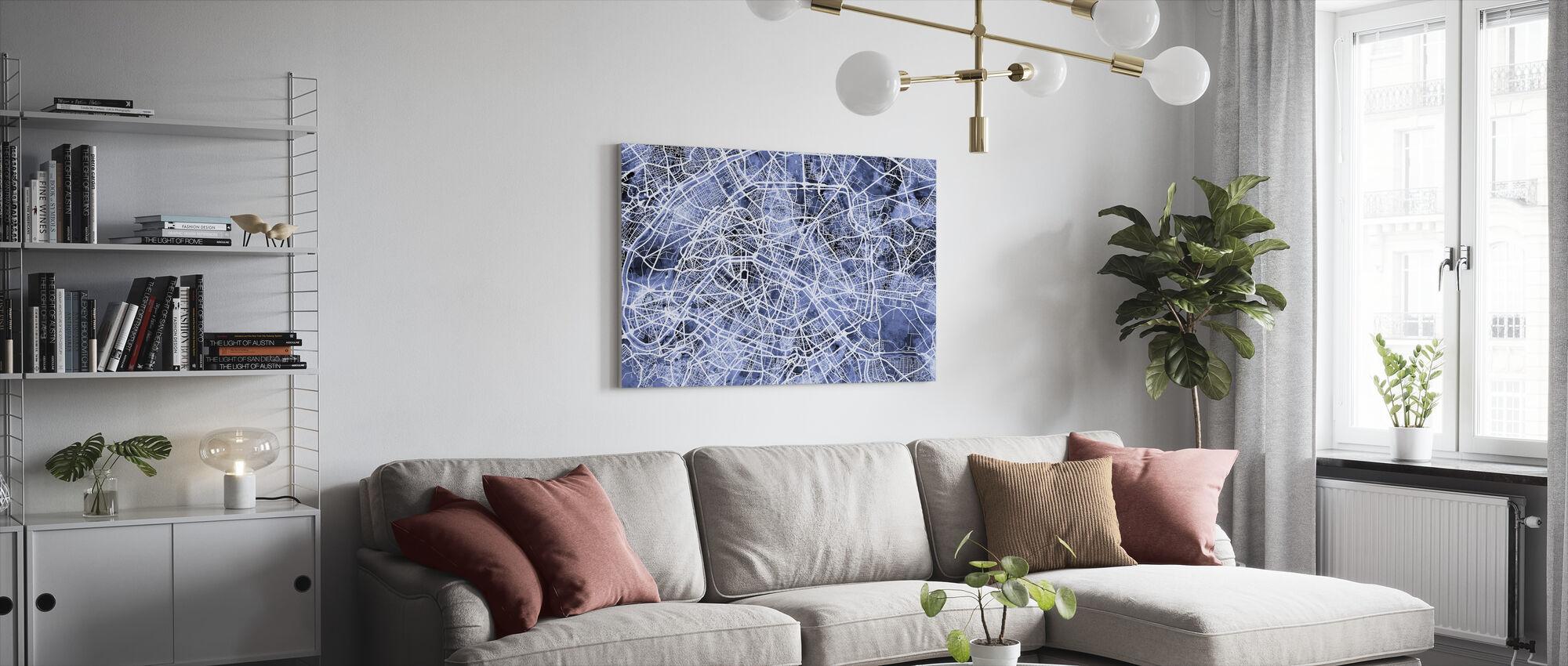 Paris France City Street Map - Canvas print - Living Room