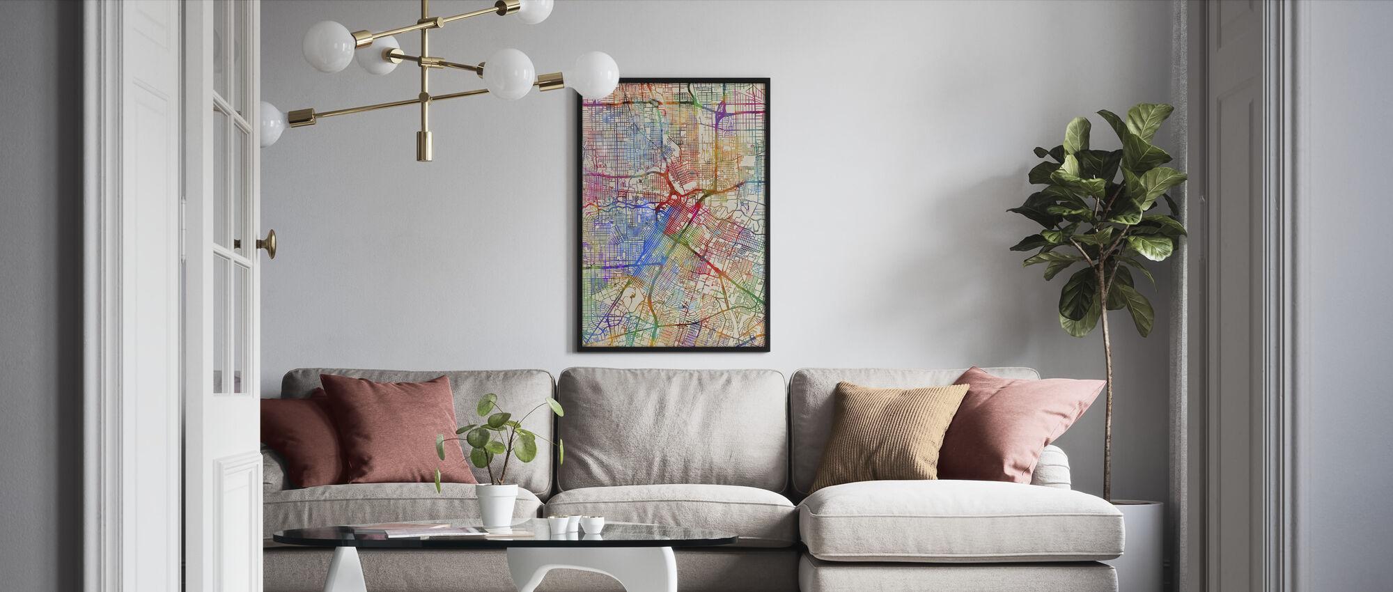 Houston Texas City Street Map - Framed print - Living Room