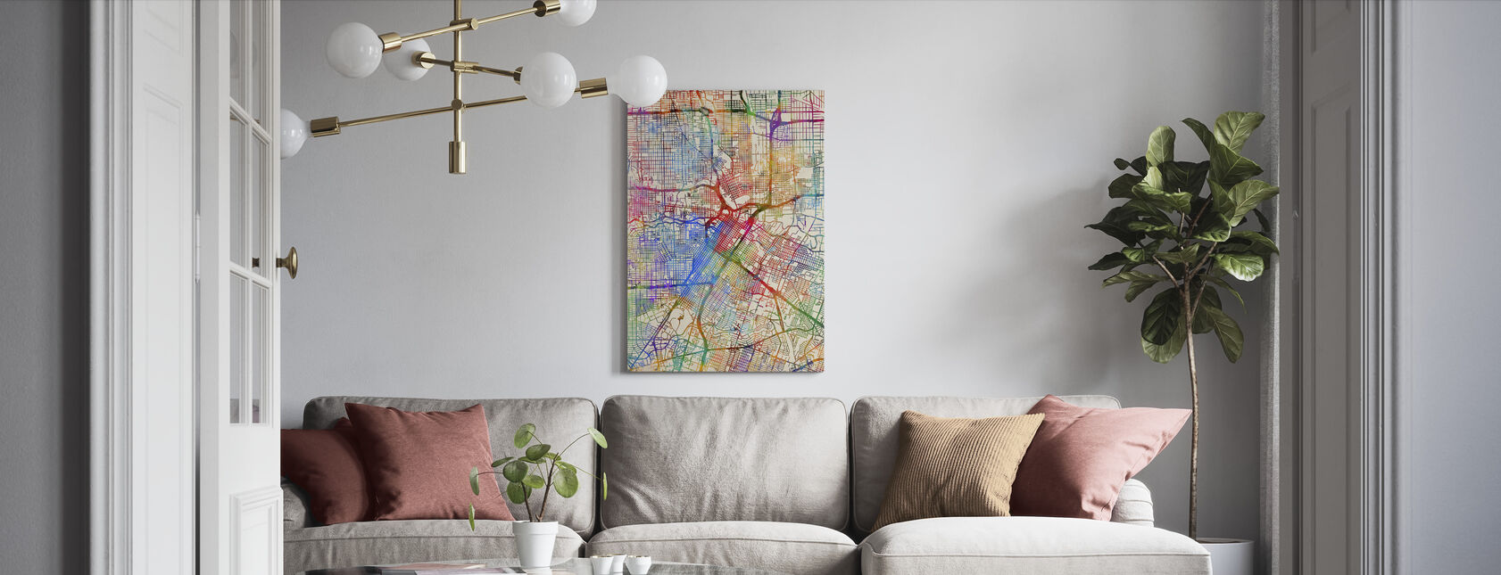 Houston Texas City Street Map - Canvas print - Living Room