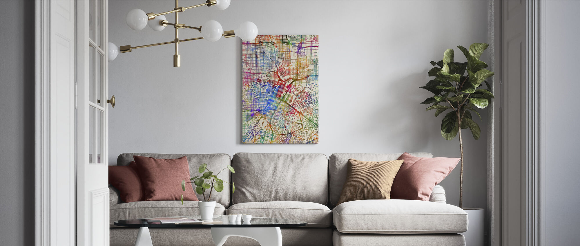 Houston Texas City Street Map - Canvas print - Living Room