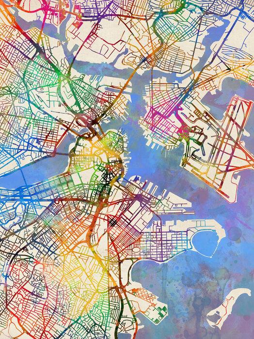 Boston Massachusetts Street Map Tunnelmallinen Canvas Photowall