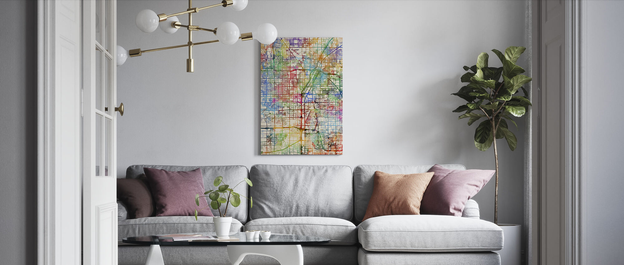 Las Vegas City Street Map - Canvas print - Living Room