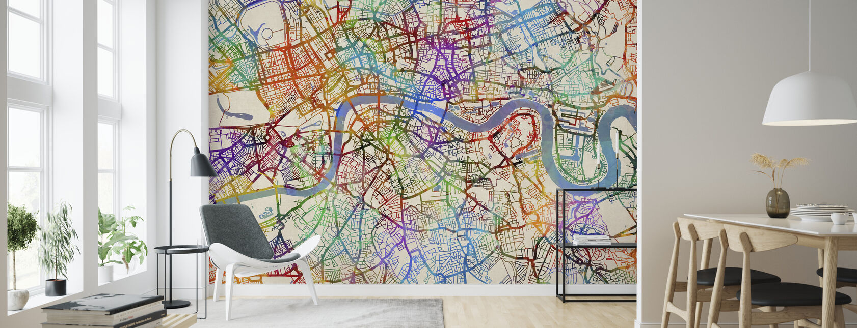 London England Street Map - Wallpaper - Living Room