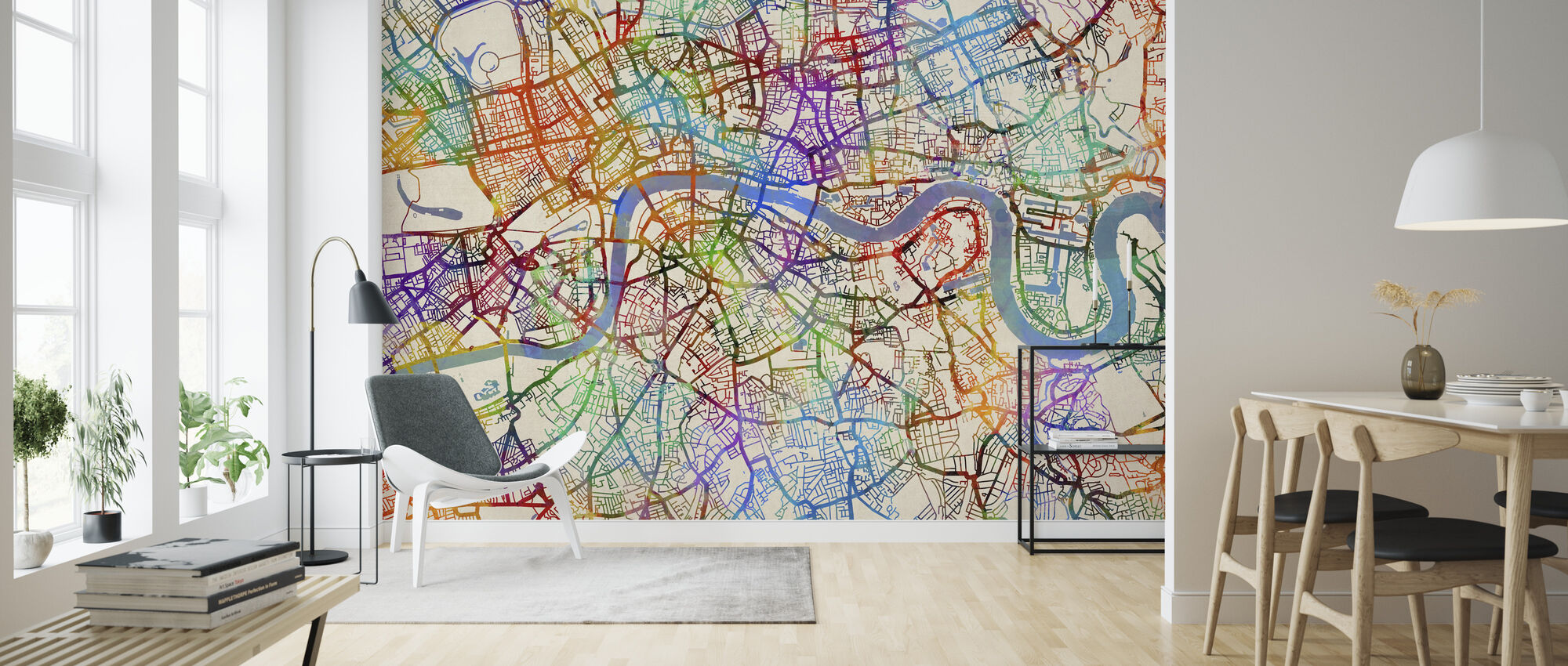 London England Street Map - Wallpaper - Living Room