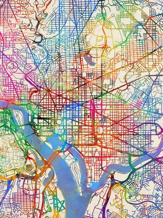 Washington DC Street Map – Preiswerte Leinwandbilder online ...