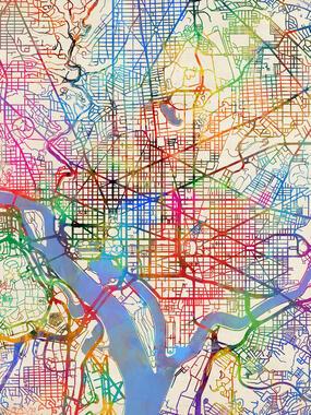 Washingtonin Vuori Kartta Topografia Retro Juliste Spreadshirt