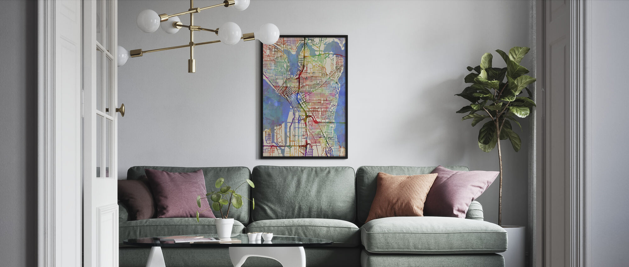 Seattle Washington Street Map - Framed print - Living Room