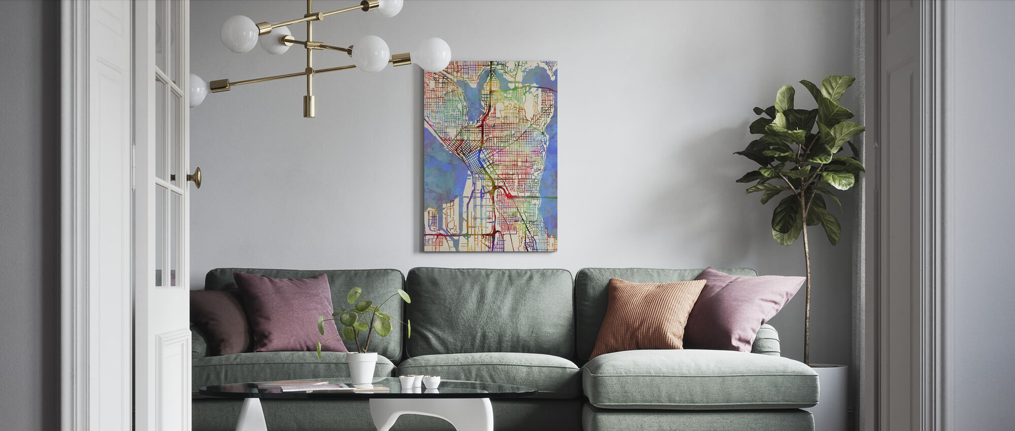 Seattle Washington Street Map - Canvas print - Living Room