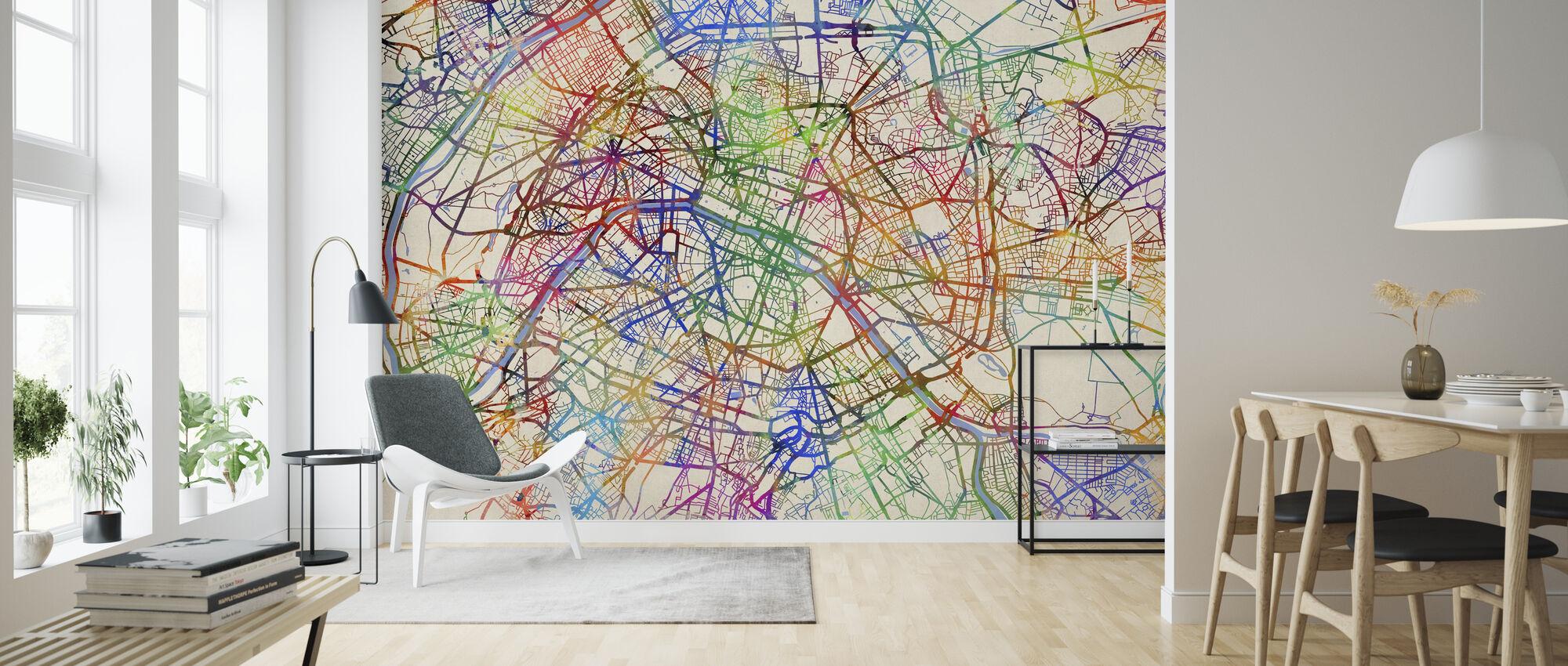 Paris France Street Map - Wallpaper - Living Room