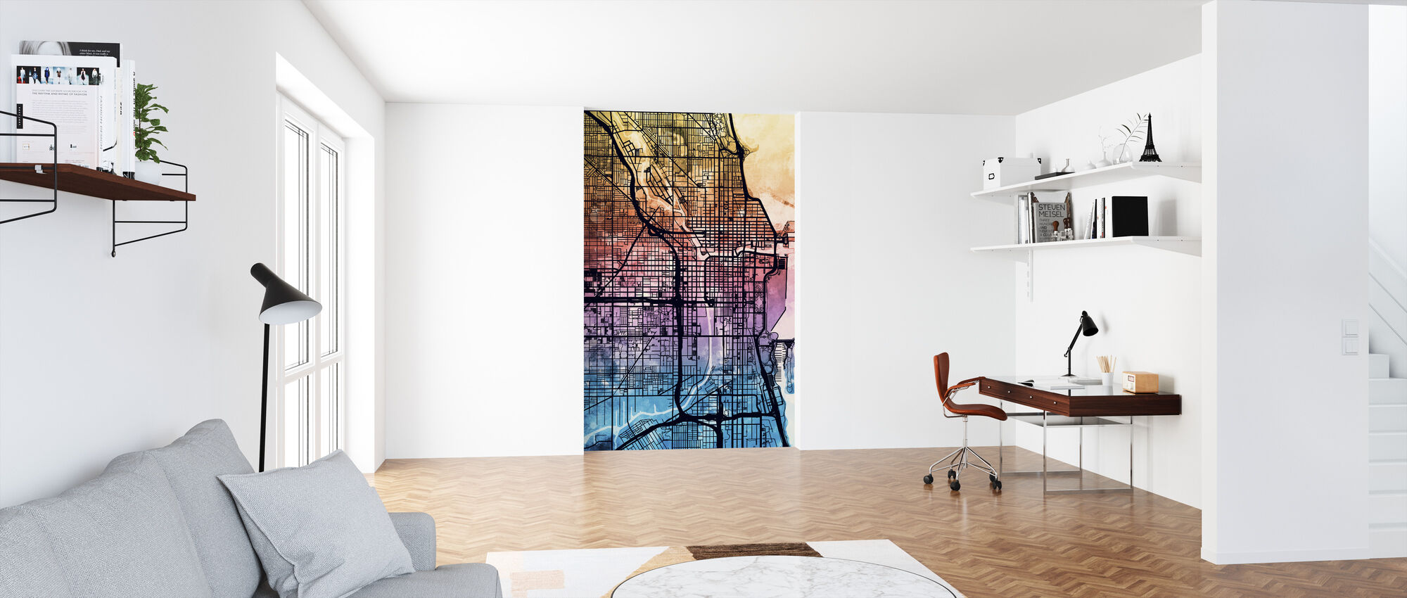 Chicago City Street Map - Wallpaper - Office
