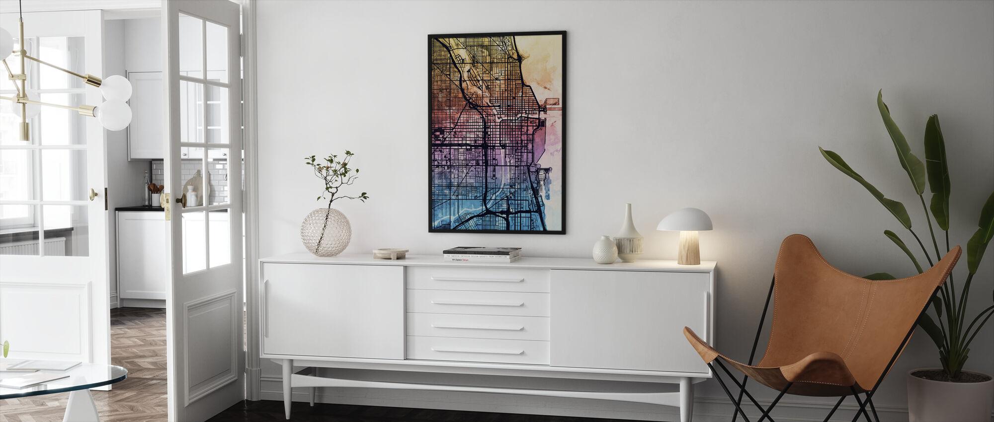 Chicago City Street Map - Framed print - Living Room