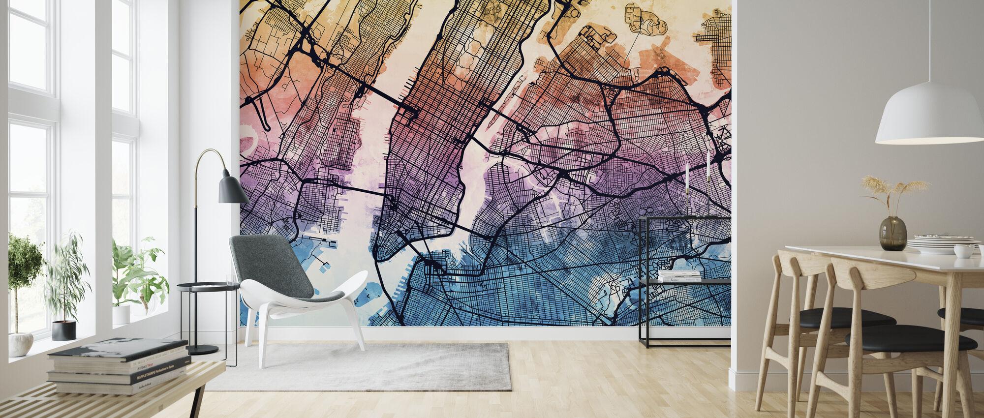 New York City Street Kort - Tapet - Stue
