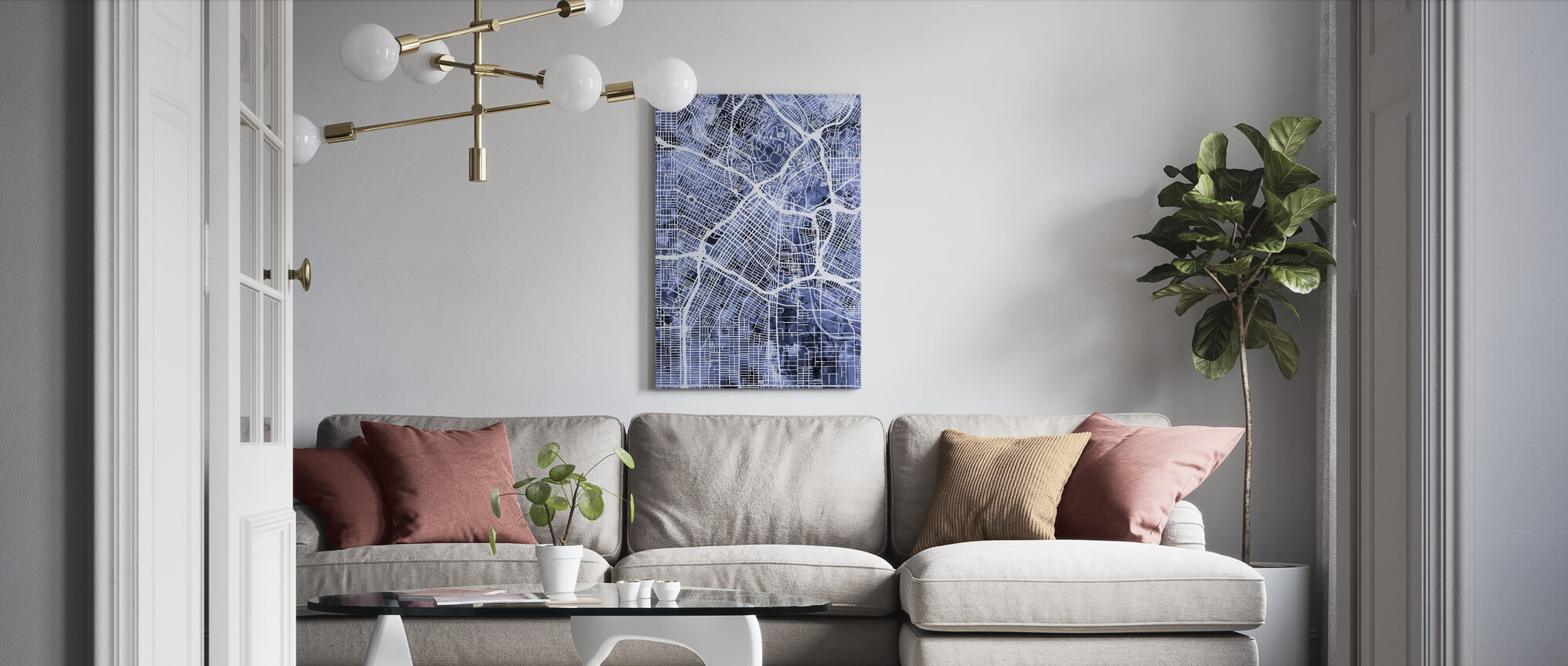 Los Angeles City Street Map - Canvas print - Living Room