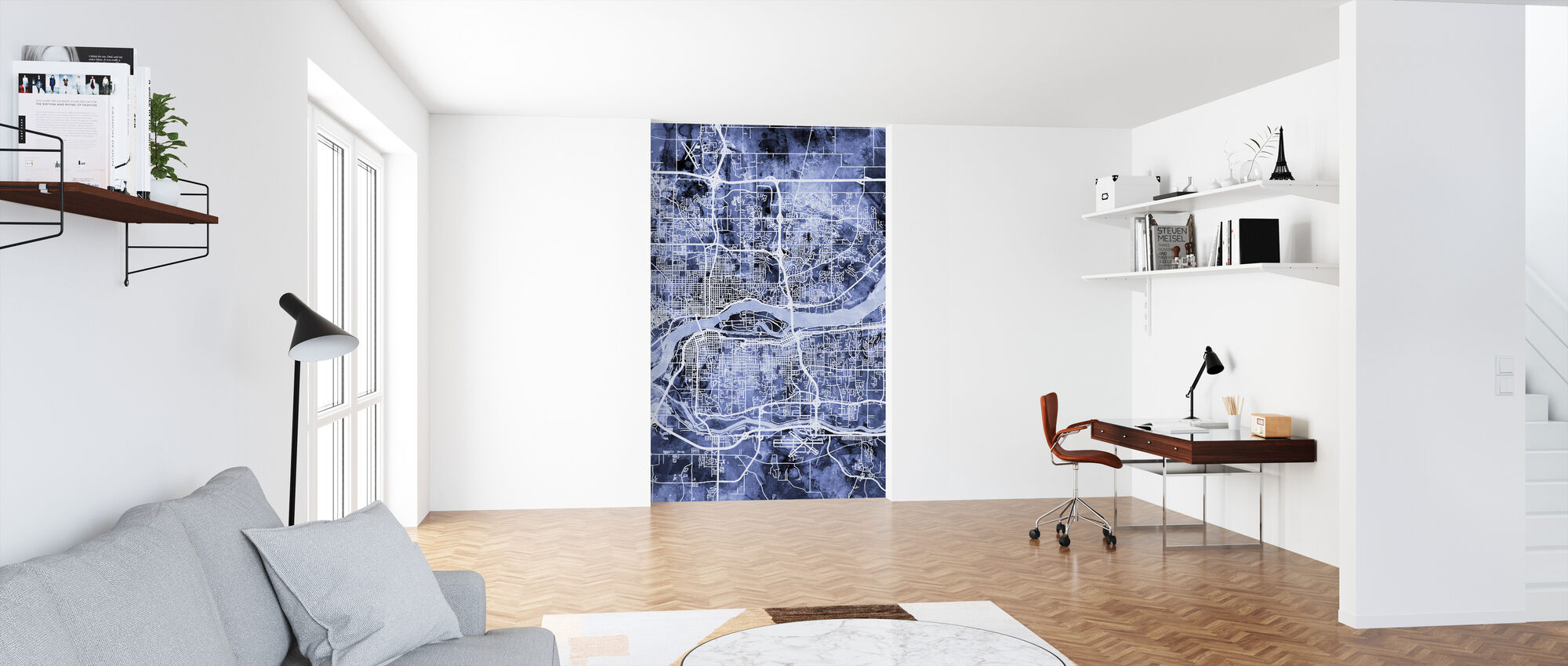 Quad Cities Mapa de la calle - Papel pintado - Oficina